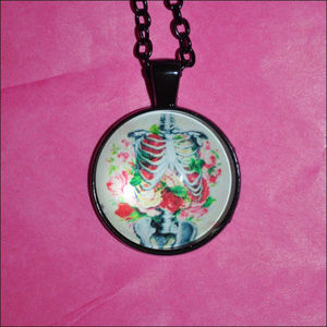 Jewelry - Floral Skeleton Dome Necklace